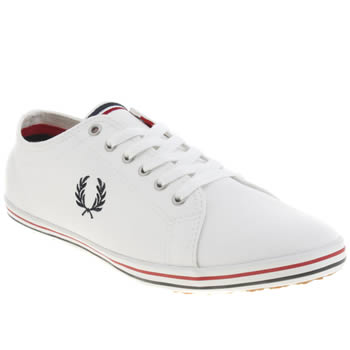 mens fred perry white & navy kingston twill trainers