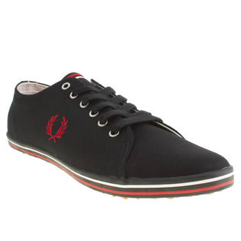 mens fred perry navy & red kingston twill trainers