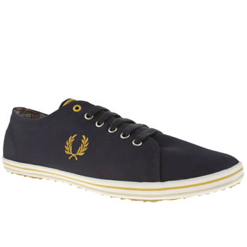 mens fred perry navy & gold kingston trainers