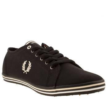 mens fred perry black & white kingston trainers