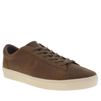 Mens Fred Perry Tan Spencer Wax Leather Trainers
