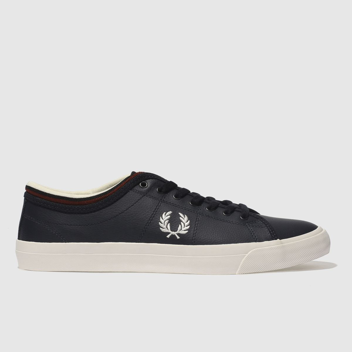 Fred Perry Navy Kendrick Tipped Cuff Leather Trainers