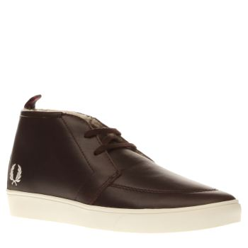 Fred Perry Dark Brown Shields Mid Leather Shearling Mens Trainers