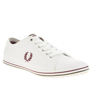 mens fred perry white & red kingston leather trainers