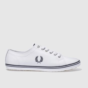 Mens Fred Perry White & Navy Kingston Leather Trainers