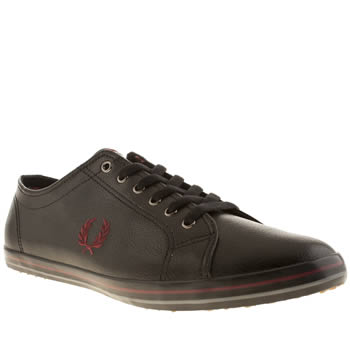 mens fred perry black & red kingston twill trainers