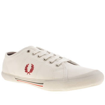 mens fred perry white & red vintage tennis canvas trainers