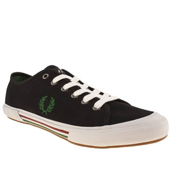 mens fred perry black & green vintage tennis trainers