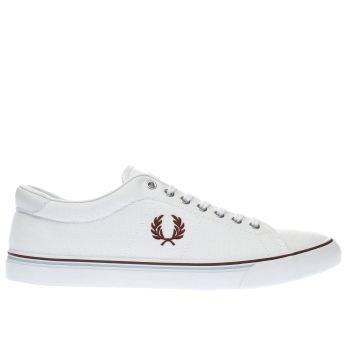 Fred Perry White & Burgundy Underspin Trainers