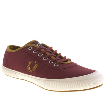 mens fred perry burgundy woodford trainers