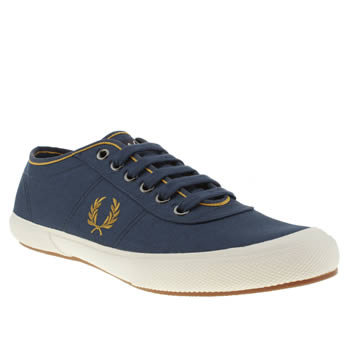 mens fred perry navy & gold woodford twill trainers