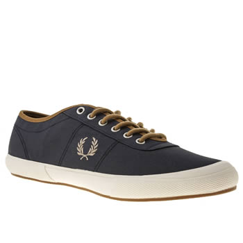 mens fred perry navy & white woodford trainers