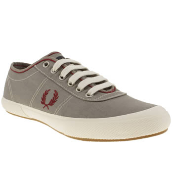mens fred perry grey woodford twill trainers