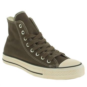 Mens Converse Dark Green All Star Vintage Wash Twill Hi Trainers