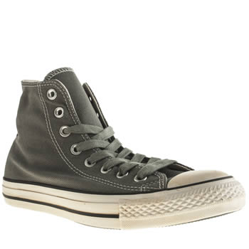 Mens Converse Light Grey Vintage Washed Twill Hi Trainers