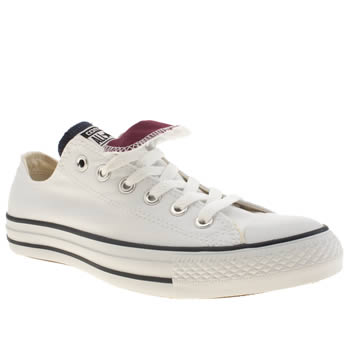 mens converse white & navy double tongue trainers