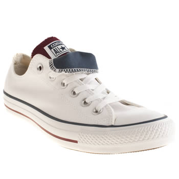 Converse White & Burgundy All Star Double Tongue Trainers