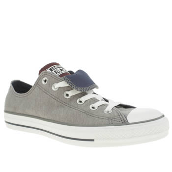 Mens Converse Dark Grey All Star Double Tongue Lo Trainers