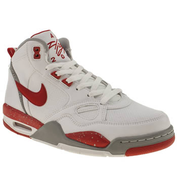 mens nike white & red flight 13 mid trainers