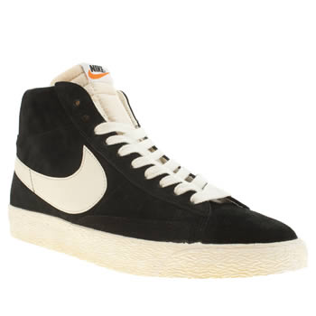 mens nike black & white blazer high suede vintage trainers