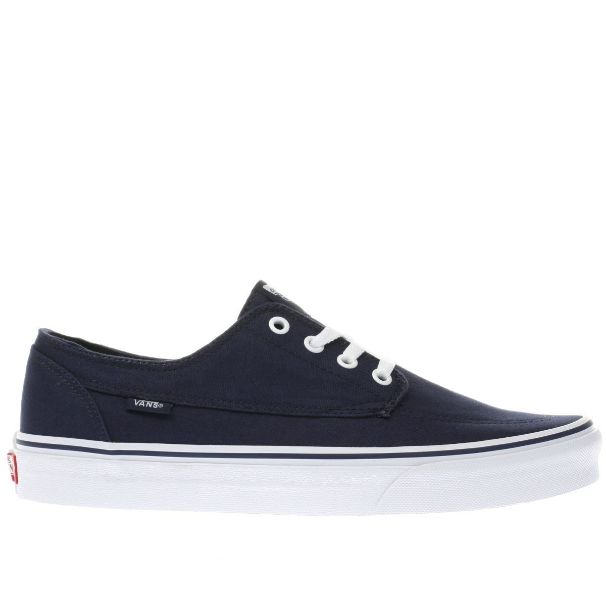 vans navy & white brigata trainers