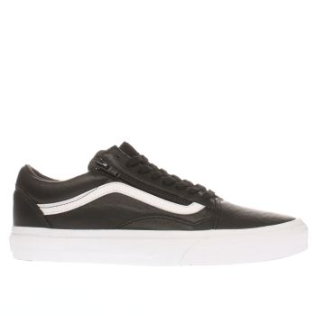 VANS BLACK & WHITE OLD SKOOL ZIP LEATHER TRAINERS