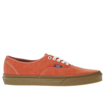 Vans Orange Authentic Mens Trainers
