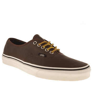 mens vans dark brown authentic trainers