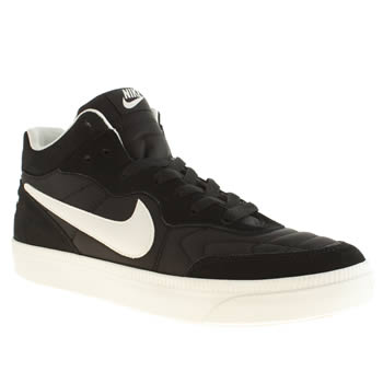 mens nike black & white tiempo mid trainers