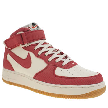 Mens Nike White & Red Air Force 1 Mid 07 Trainers