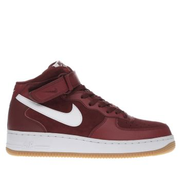 Nike Red Air Force 1 Mid Mens Trainers