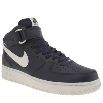 Nike Navy & White Air Force 1 Mid Trainers