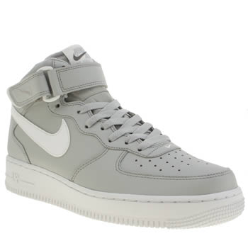 Mens Nike Grey Air Force 1 Mid Trainers