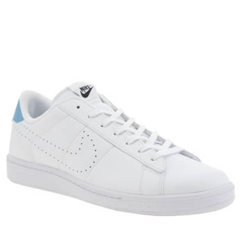Mens Nike White & Blue Tennis Classic Cs Trainers
