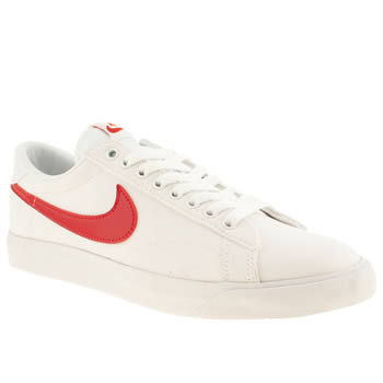 mens nike white & red tennis classic trainers