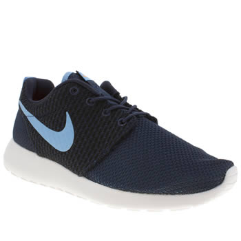 mens nike navy & pl blue roshe run trainers