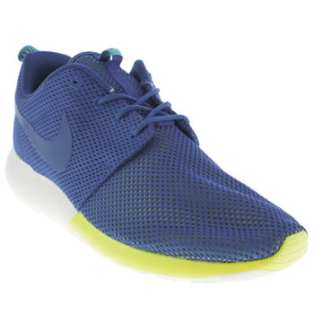 mens nike blue & yellow roshe run trainers