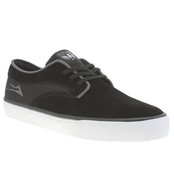 Mens Lakai Black & White Riley Hawk Trainers