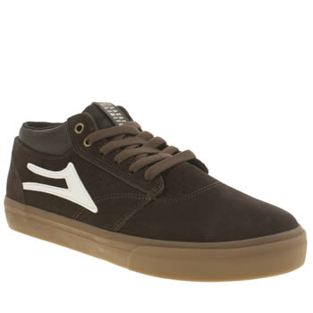 Mens Lakai Dark Brown Griffin Mid Trainers