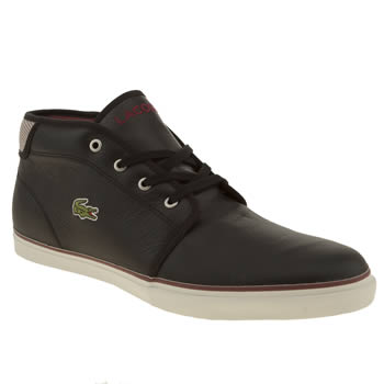 mens lacoste black & white ampthill mts trainers