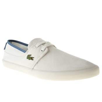 Mens Lacoste White & Blue Marice Lace Trainers