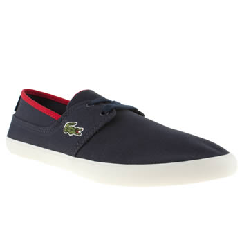 Mens Lacoste Navy & Red Marice Lace Trainers