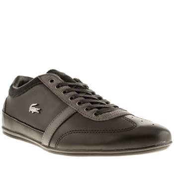 mens lacoste black & grey misano 31 trainers