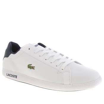 Mens Lacoste White & Navy Graduate Trainers