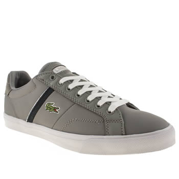 mens lacoste grey & navy fairlead trainers