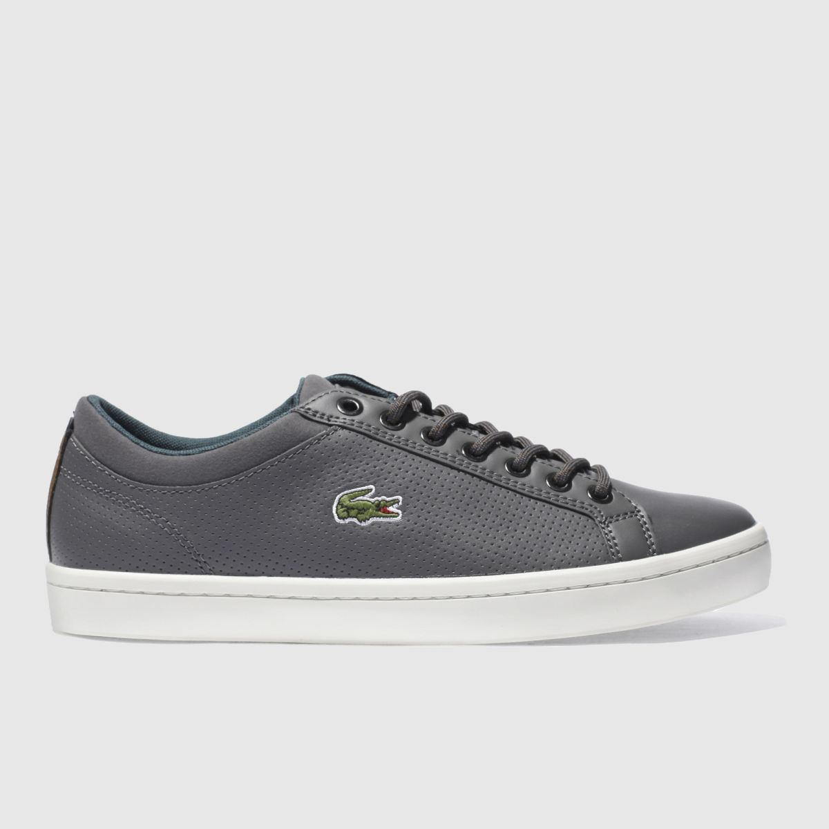 lacoste dark grey straightset trainers