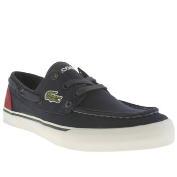 Mens Lacoste Navy & Red Keel Trainers