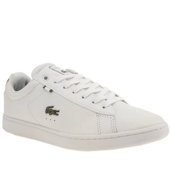 Mens Lacoste White & Green Carnaby Evo Trainers