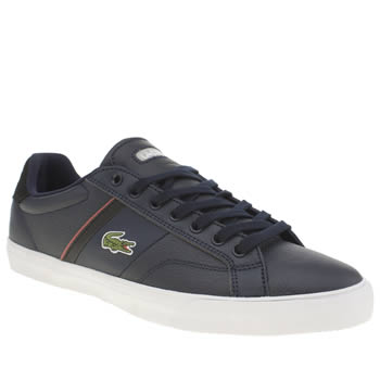 Mens Lacoste Navy & Red Fairlead Trainers