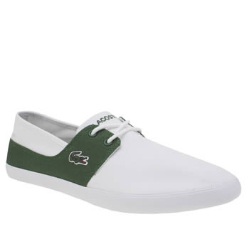 Mens Lacoste White & Green Marice Lace Trainers
